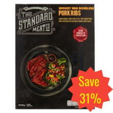 SPECIAL - The Standard Meat Co Smokey Boneless Pork Ribs 400g $10.80 per packet